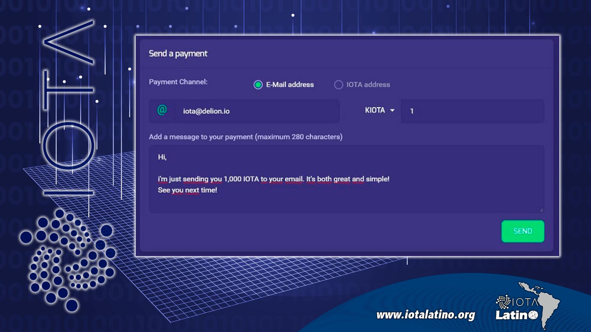 enviar y recibir IOTA - API Delion - 2